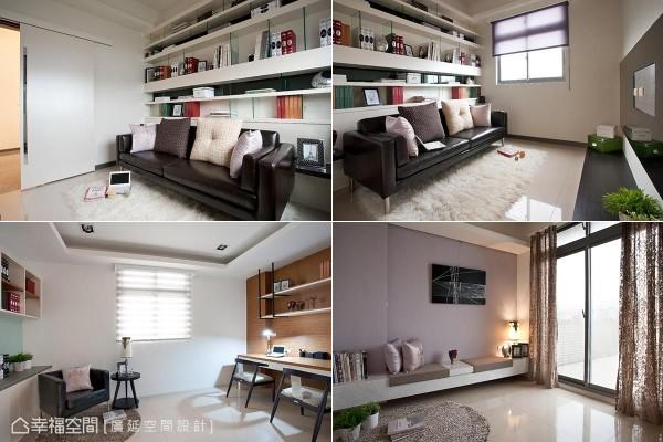 广延空间设计分别在三楼设置视听室,四楼顶楼则规划有书房和卧榻区,让四层楼的别墅拥有完整的场域机能。