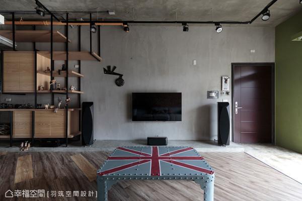 以英伦风的格纹图案为概念,地坪以超耐磨木地板做斜纹拼贴,电视墙下垫高的音响台面则使用水泥粉光。