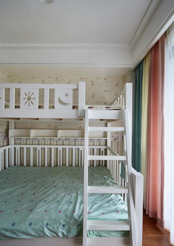 儿童房:壁纸上墙的效果还不错,不过有点小贵啊;白色高低床加上粉色+白色+青色的三拼色窗帘效果,可以的。