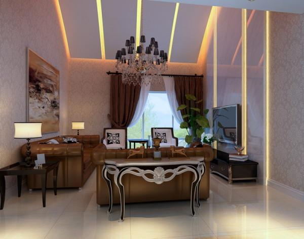 本案典雅华贵,宛如高档会所,给人华贵的体验。咖色的真皮沙发、咖色窗帘搭上清爽淡雅壁纸,使自然,奢华,简约的气质贯穿整个居室设计。