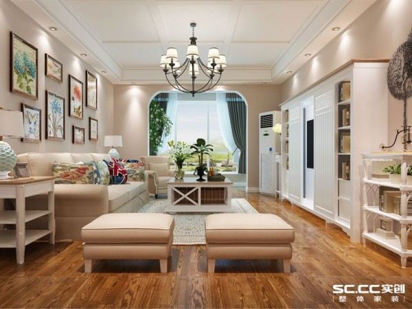 背景色采用棕色木地板 搭配咖啡色墙漆 主体色使用浅灰色布艺沙发 木色茶几 点缀色配以黄绿 整体空间明媚活泼。
