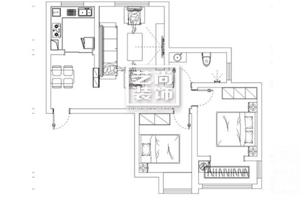 郑州祈福尚都90平方两室两厅一厨一卫户型图