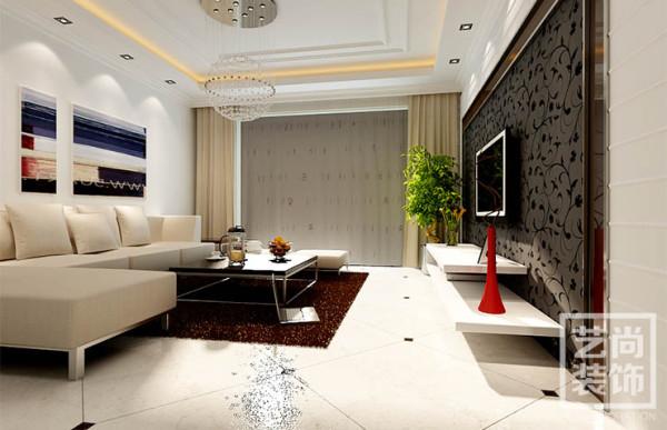 祈福尚都(公务员小区)2室2厅90平方样板间现祈福尚都两室两厅现代简约风格装修,沙发背景墙效果图