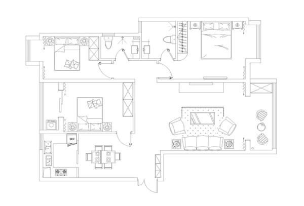 升龙又一城1号楼3室2厅130平方户型图