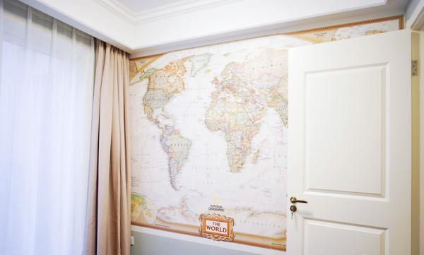 儿童房背景墙以世界地图为主题,载着梦去远行