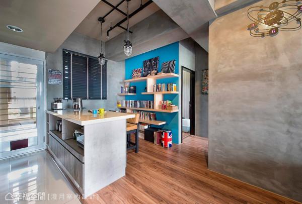打破狭隘的原始格局,将餐厨区与书房间的隔墙打掉,让视觉尺度自然宽敞轻透,也同时铺述内部的机能与层次感。