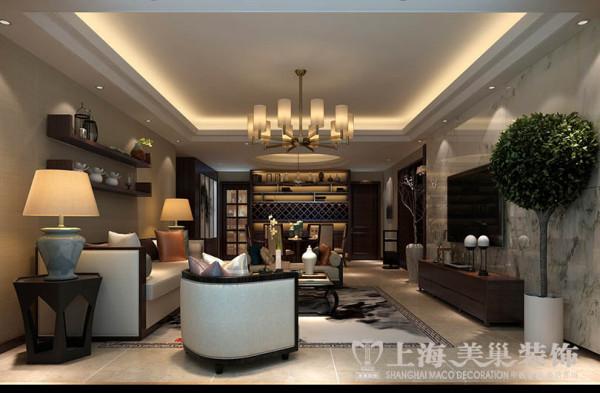 正商城140平米四室两厅新中式风格装修效果图——客餐厅布局效果图