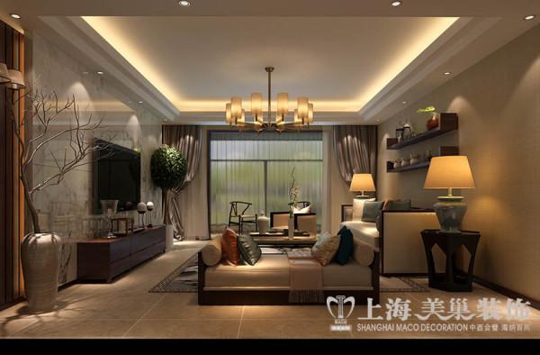 郑州正商城140平米四室两厅新中式风格装修案列——客厅全景效果图