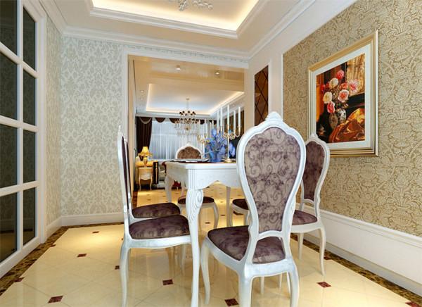 餐厅背景墙壁纸的应用,既增加了空间的延展新,又提升了整个空间的光亮感。在乳白色欧式餐桌的配搭下,再配以烛台更加增加了食欲感。配以花朵的挂画,给空间多了一丝生气。