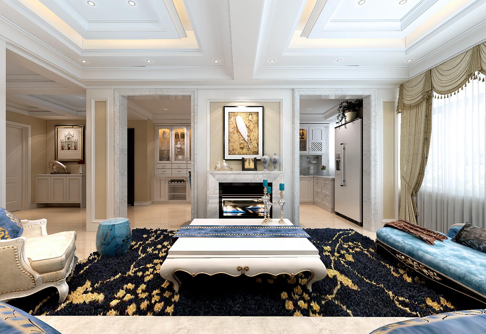 客厅中间有500mm大梁采用多层级吊顶,大石膏线拉伸层次,层次鲜明而不图片