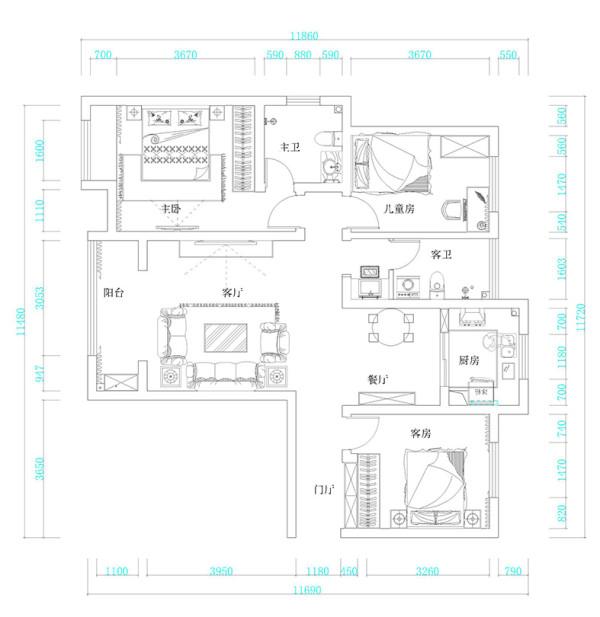 郑州西雅图三室两厅126平美式乡村装修案例——户型平面设计