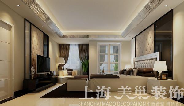 联盟新城装修案例180平四室两厅现代风格设计——卧室全景效果图