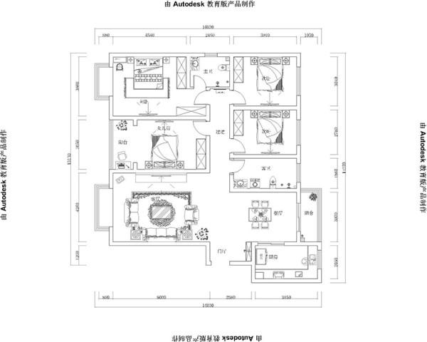郑州市规划局家属院装修案例设计——180平四室两厅户型案例设计平面布局图