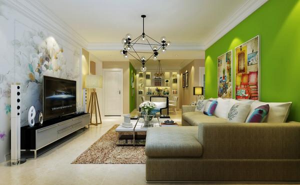 客厅整体设计效果展示,客厅沙发背景墙刷黄绿色墙漆,非常有温馨的感觉