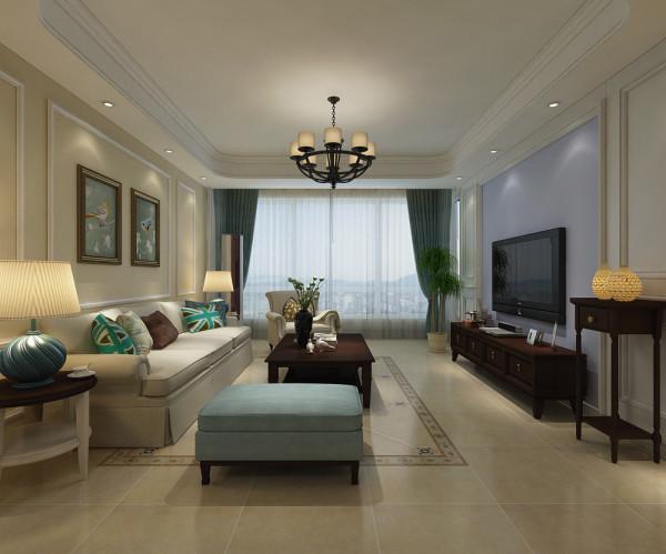 客厅整体装修设计效果展示,整体以淡黄色为主色。