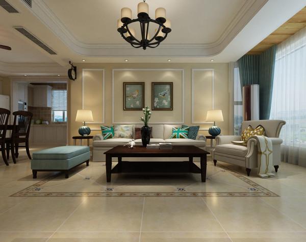 客厅沙发墙面设计效果展示,石膏线的装饰是美式中非常具有代表性的元素