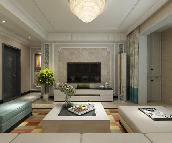 电视墙的造型设计也非常用心,石膏板造型,壁纸,画线各种元素的结合,使