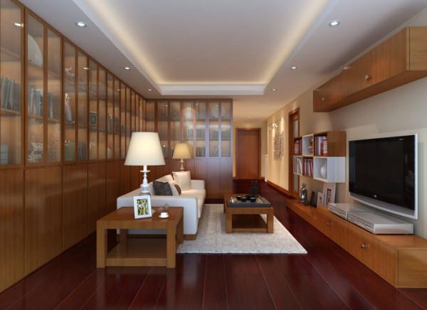 居家办公两用客厅 设计理念:朱红色地板配黄色墙漆,给人温馨感,造型以直线为主,方便工作繁忙的主人进行打扫。 亮点:整面墙的书架满足了主人大量储物空间的要求,沙发居中的摆放方式,是客厅带有大气的商务色彩。