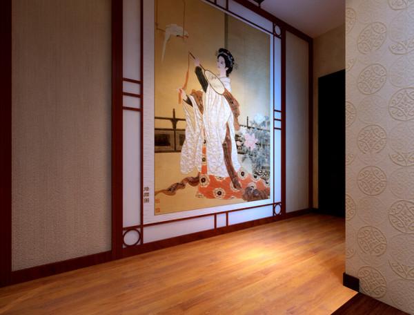 一股浓浓的中国风铺面而来,大型的唐朝美女图,尽显大气而不失典雅,客卧的流畅的水墨画,刚劲有力的书法楷书,两幅画的结合将墙体巧妙的做了过渡,不显死板,设计师把卧室异性的一面做了中式窗的造型.