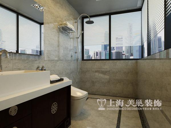 锦棠160平装修新中式案例三室两厅效果图——卫浴设施