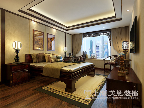 锦棠装修三室两厅新中式160平效果图案例——卧室全景效果图