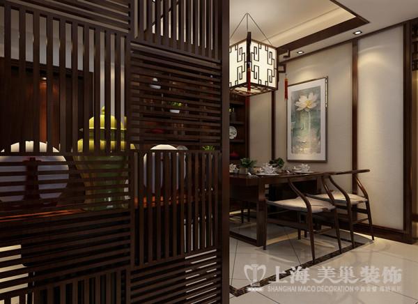 郡临天下143平装修三居室样板间新中式效果图——餐厅效果图