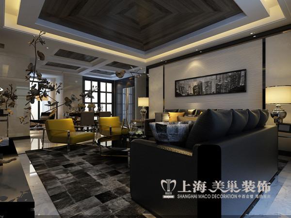 永威五月花城装修样板间效果图——客厅沙发背景墙布局