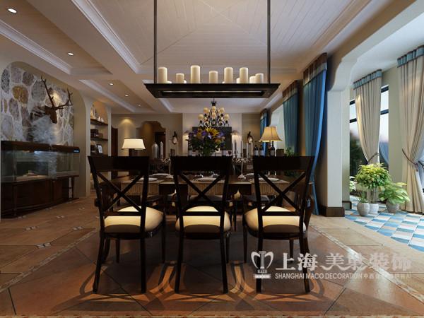 贰号城邦简美装修160平四室两厅样板间案例——餐厅视角布局