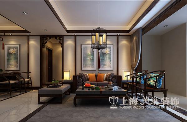 郡临天下装修143平三室案例效果图——新中式沙发布局
