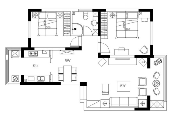 郑州绿地老街110平两室两厅简美装修样板间案例——户型平面布局