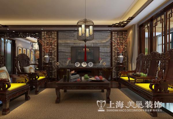 锦棠160平三室两厅新中式装修效果图——客厅电视墙