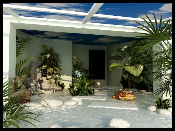 龟房考虑防水墙面和顶面用的是彩绘和地暖。