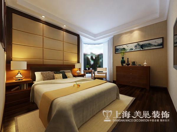 郡临天下新中式装修案例143平三室两厅效果图——卧室全景