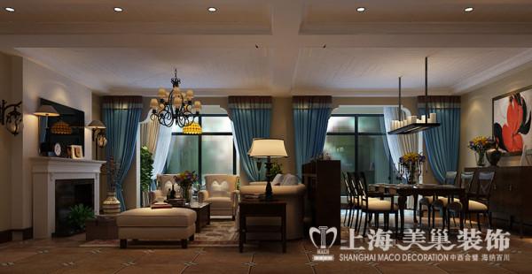 郑州贰号城邦二合一160平四室简美装修案例——客餐厅全景