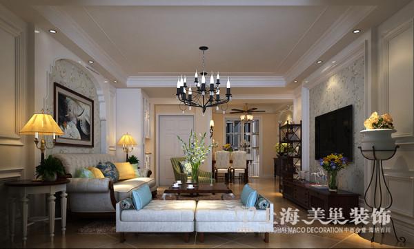 绿地老街2室2厅装修简美110平样板间案例——客餐厅全景效果图