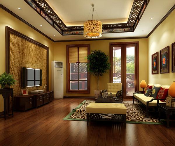 起居室:摒弃了繁复的中式造型,只是在墙面材料上做了区分,让整个空间显得自然脱俗。