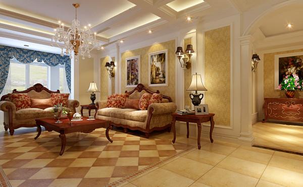 客厅沙发背景墙布局规划设计效果,背景墙根据家具的布局做出区域的划分。壁纸做装点,两侧安装壁灯。大户型中往往光源的设计师非常重要的。