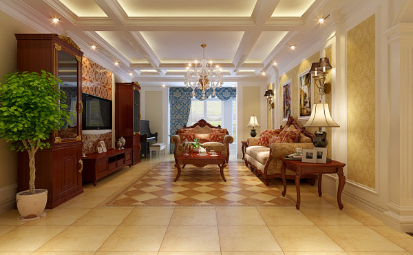这张图是东胜紫御府148平米户型三室客厅的设计效果。在整体装修设计时客厅顶部区域非常大,做环型灯池会单调,这里巧妙的将顶部分割。