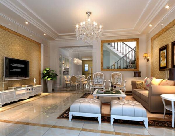 客厅与餐厅墙面色彩的完美过渡从视觉上实现了区域的划分,电视背景墙着重点缀,通过壁纸的亮度,样式,沙发背景墙则考虑软包与灰镜的结合,增强效果。