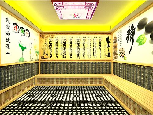 简约型纳米汗蒸房,装修的时候天花是使用了走边天花造型,有一圈黄色灯带!