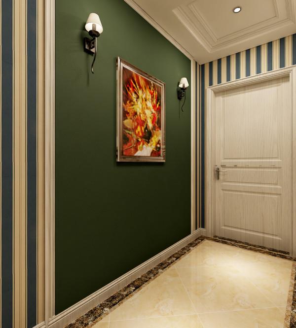 入户门另一侧的设计效果展示。这里是用绿色墙漆玄关优化做装饰。