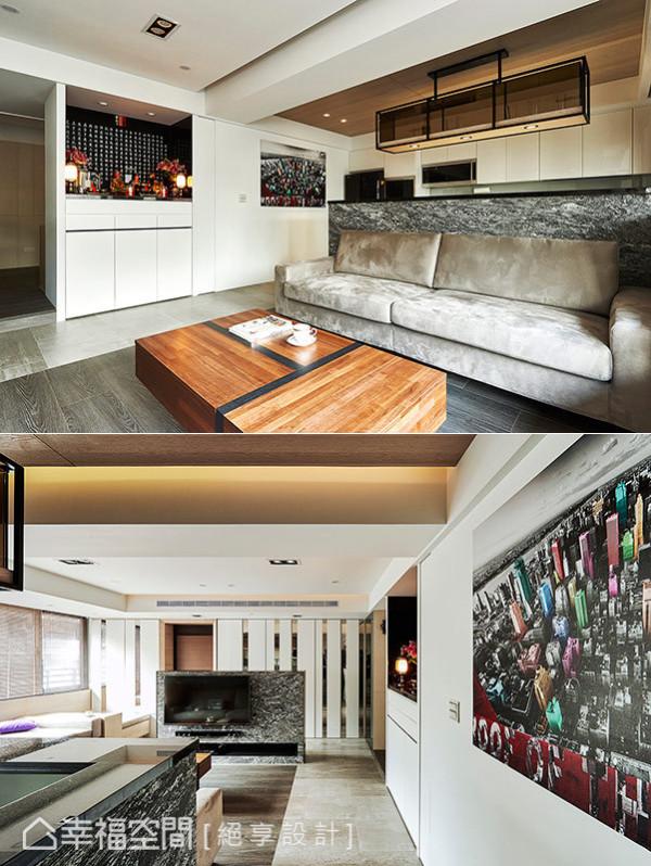屋主要求规划的神明桌纳入墙面线条计划,配置抽拉式桌面与收纳空间,让出齐整开敞的生活空间。