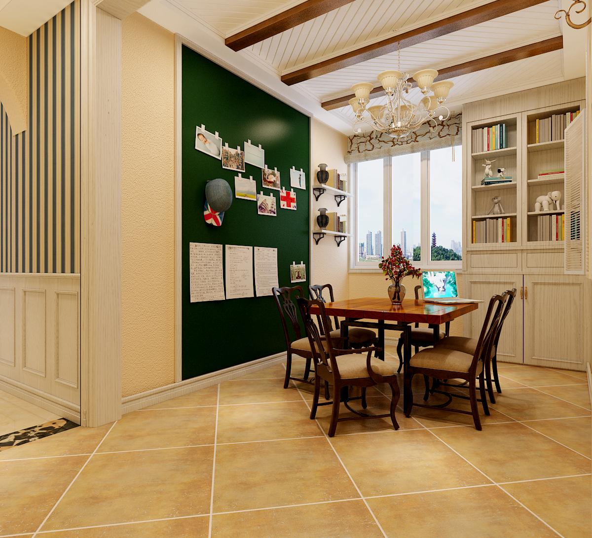 餐厅位置比较空旷,在顶部位置做假梁造型进行装点,一侧的墙面粉刷墨图片