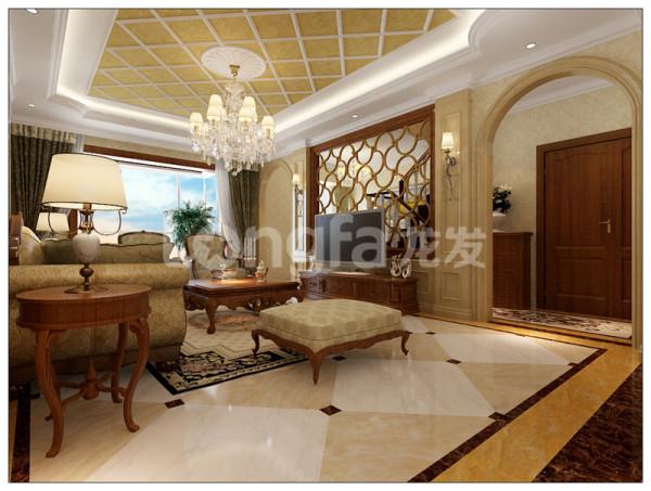 石家庄龙发装饰万达跃层欧式装修效果图客厅装修效果图