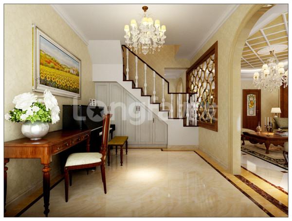 石家庄龙发装饰万达跃层欧式装修效果图楼梯装修效果图