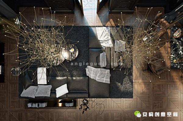 室内还配备有现代风格的家具和照明设备,这些物件都还有品牌上的讲究,使用的是Busnelli的沙发、Arketipo的椅子、Delightfull的落地灯和Baxter的枝形吊灯。