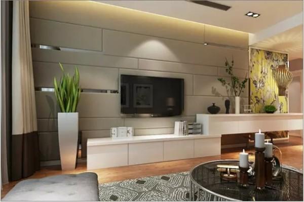 不对称的软装背景墙成为整个客厅的焦点,造型别致的电视柜让人耳目一图片