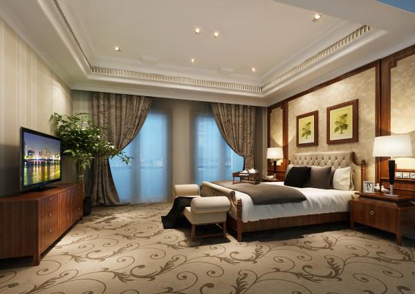 生活家装饰--半岛一号320平米现代风格卧室装修效果图       设计理念:色系之间依托设计语言和功能属性的巧妙编排——米色的温馨舒适、棕色的饱满情绪、木色的关爱沉稳与温情,将梦境引入现实。