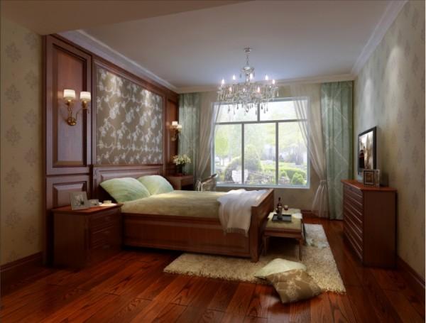 墙面采用木色墙板和软包,在色彩和质感上和整体呼应,装饰艺术风格强调装饰性的简单直线条感,烘托出整体空间的层次感。使卧室更具舒适和温馨。