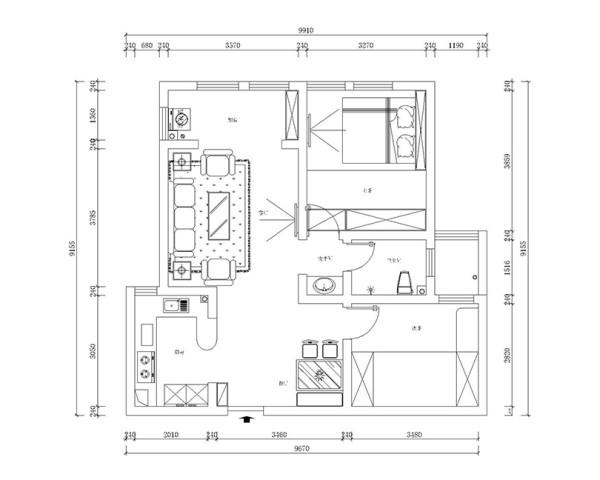 香樟公馆两室两厅96平户型装修案例——平面户型布局方案图